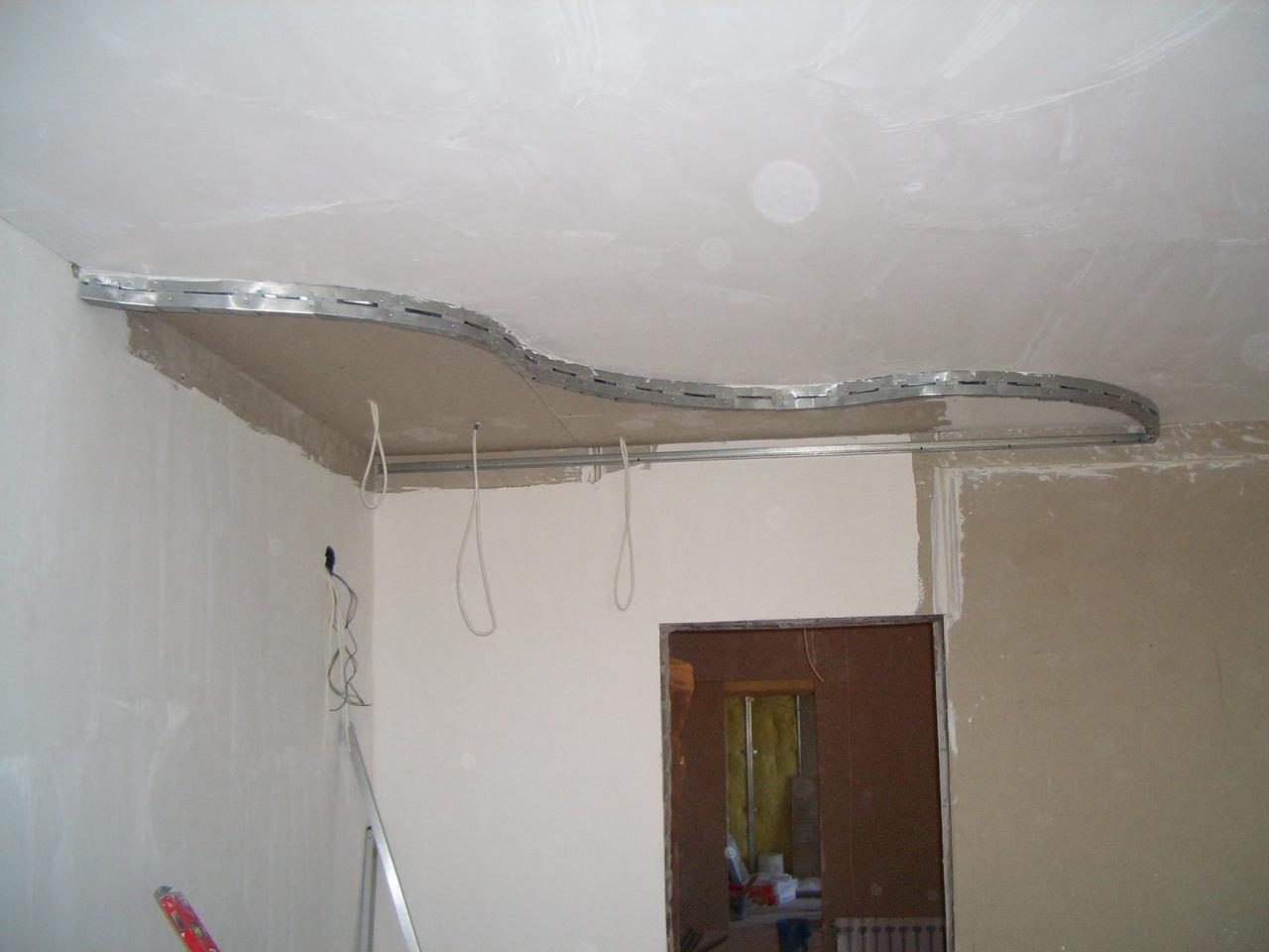 Как сделать двухуровневый потолок из гипсокартона своими 56