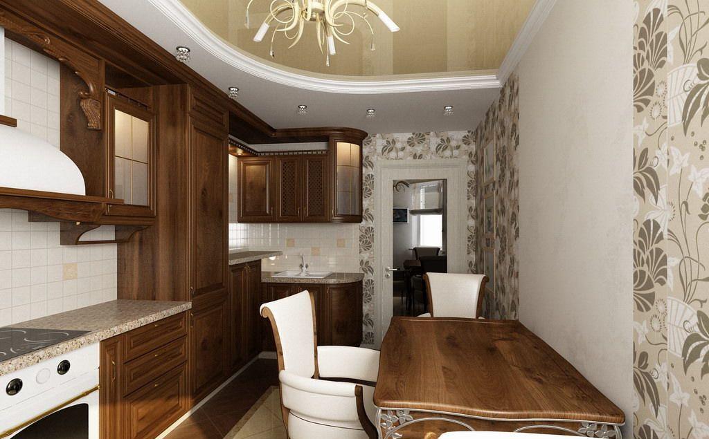 Дизайн потолка классической кухни