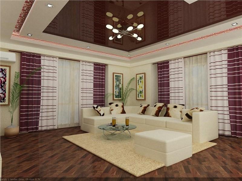 Глянцевый коричневый натяжной потолок.