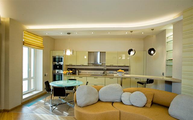 Потолок в кухне гостиной фото