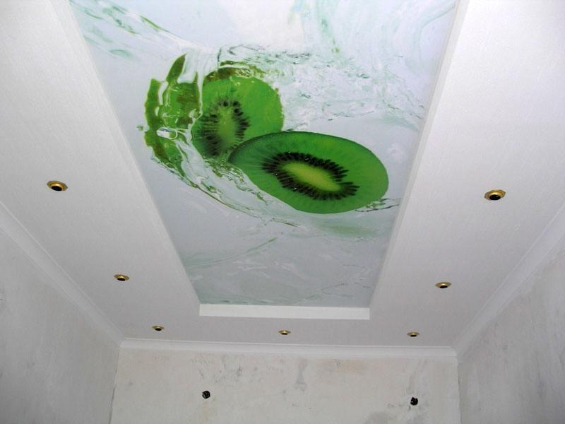 Тканевый натяжной потолок в туалете